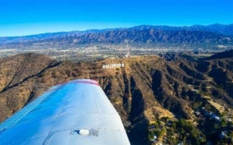 aerial view Beverly Hills CA from aviation academy plane
